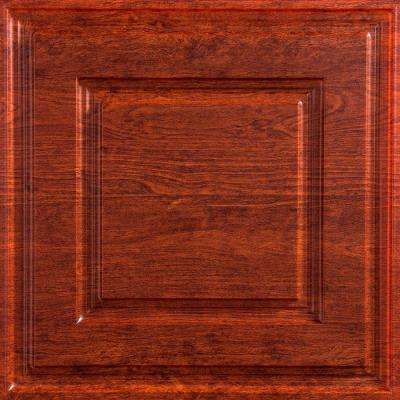 Raised Coffer 2 ft. x 2 ft. Vinyl Lay-In Ceiling Tile in Walnut