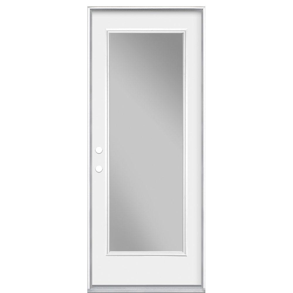 Masonite 32 in. x 80 in. Primed White Full Lite Prehung Security Exterior Door with No Brickmold