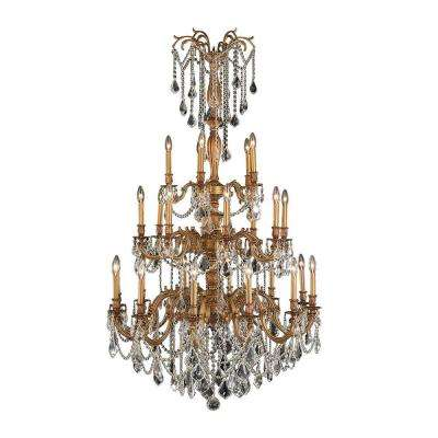 Windsor Collection 25-Light French Gold Chandelier with Clear Crystal