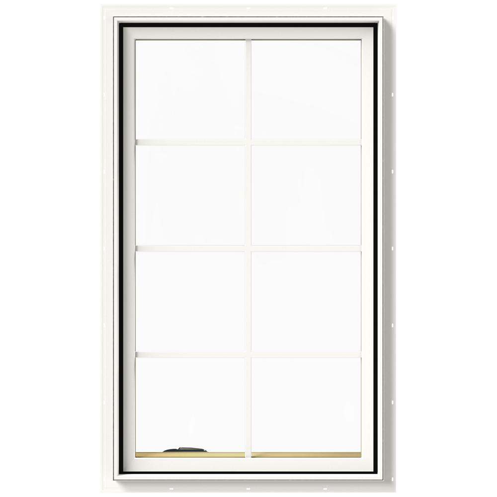 JELD-WEN 28 in. x 48 in. W-2500 Series White Painted Clad Wood Left-Handed Casement Window with Colonial Grids/Grilles