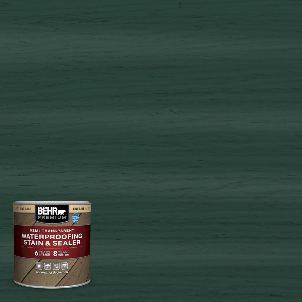BEHR Premium 8 oz. #ST-114 Mountain Spruce Semi-Transparent Waterproofing Exterior Wood Stain and Sealer Sample