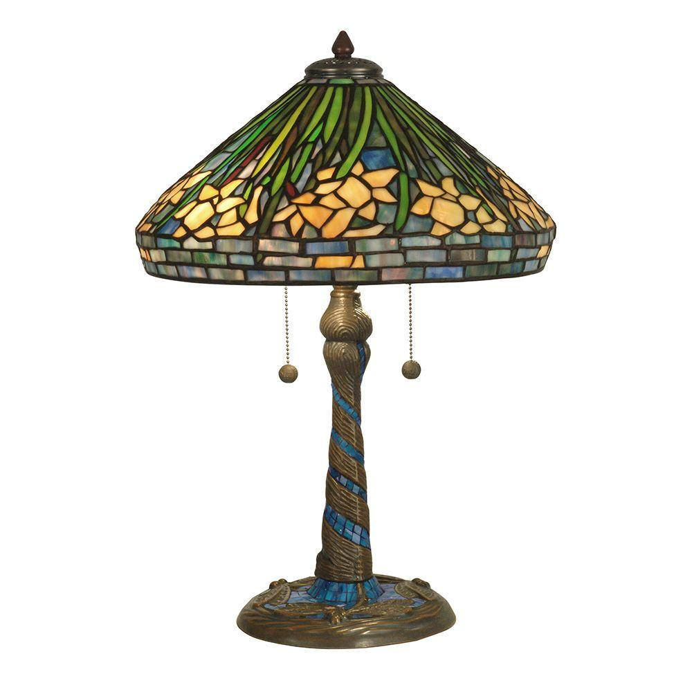 Dale Tiffany 23 in. Daffodil Art Glass Table Lamp with Antique Verde Mosaic Base-DISCONTINUED