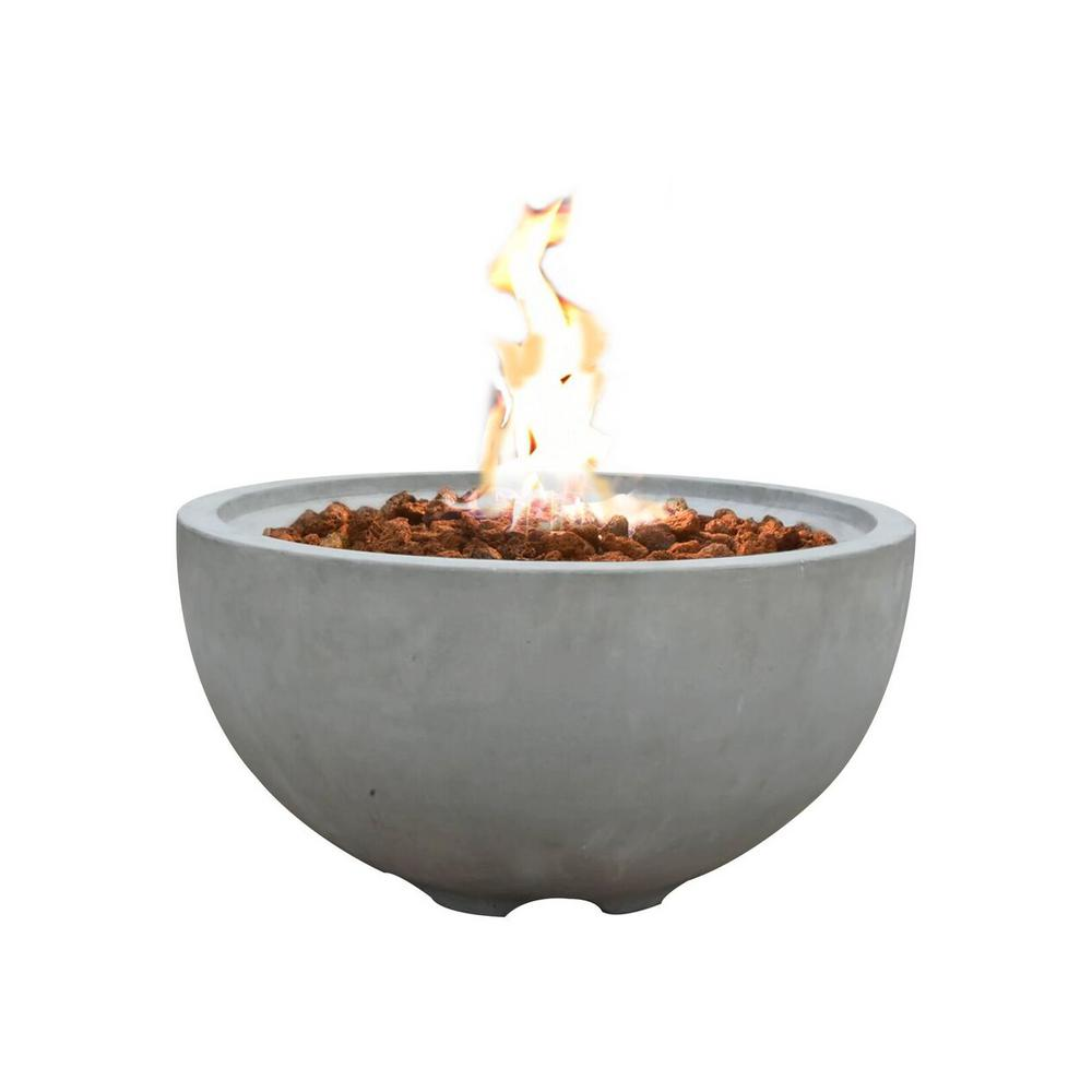 Nantucket 26.6 in. Round Concrete Propane Fire Bowl in Propane in