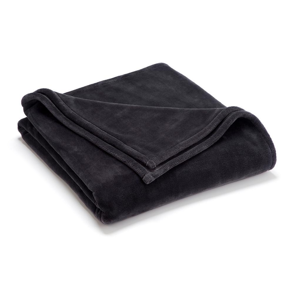 Sheared Mink Grey Polyester Twin Blanket