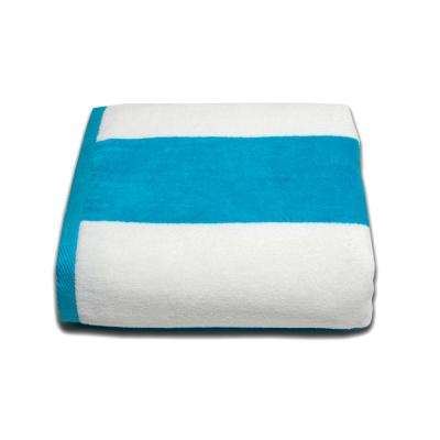 Tropical Cabana 100% Cotton Beach Towel in Aqua