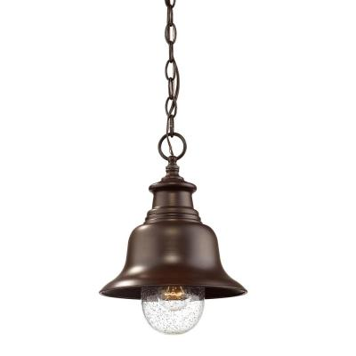1-Light 9 in. Wide Powder Coated Bronze Outdoor Mini Pendant with Glass Shade