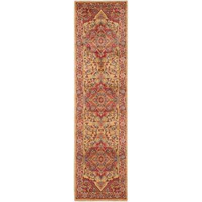 Mahal Red/Natural 2 ft. x 22 ft. Runner Rug