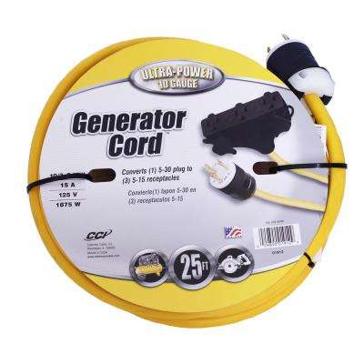 25 ft. 10/3 SJTW 30-Amp to 15-Amp Multi-Outlet (3) Power Distribution Heavy-Duty Generator Adapter Extension Cord