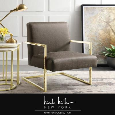Konnor Tan/Gold PU Leather Accent Chair with Square Arm