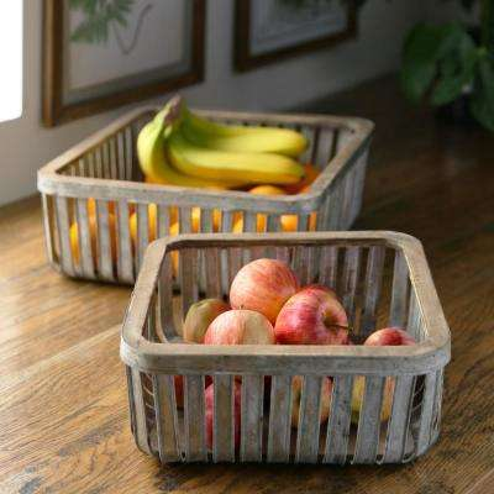 Specialty Metal Galvanized Gray Decorative Basket (Set of 2)