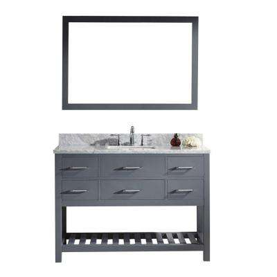 Caroline Estate 48 in. W x 36 in. H Vanity with Marble Vanity Top in Carrara White with White Square Basin and Mirror