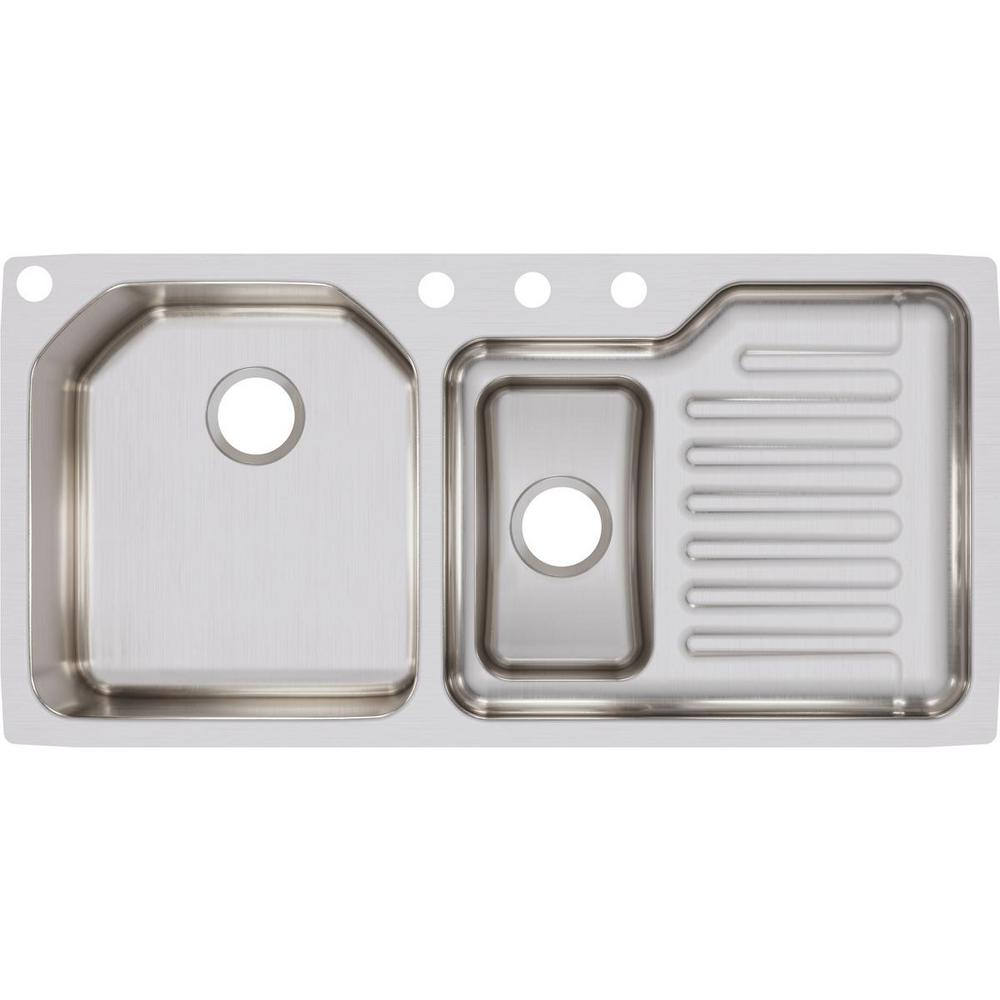 Elkay Lustertone Undermount Stainless Steel 42 in. Double Bowl Kitchen Sink  with Right Drain Board