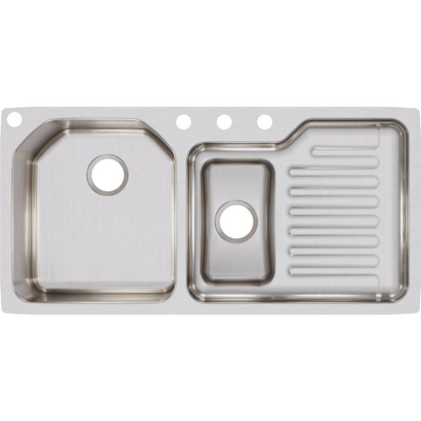 Elkay Ertone Undermount Stainless Steel 42 In Double Bowl Kitchen Sink With Right Drain Board Eluh4221l The Home Depot