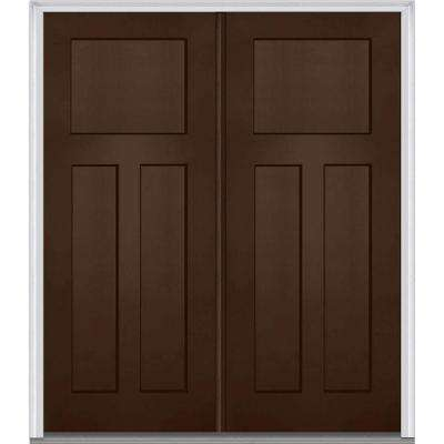 72 in. x 80 in. Classic Left-Hand Inswing Craftsman 3-Panel Painted Fiberglass Smooth Prehung Front Door with Brickmould