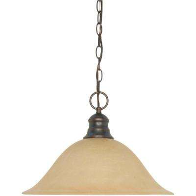1-Light Mahogany Bronze Pendant with Champagne Linen Washed Glass