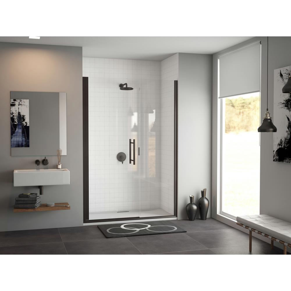 Coastal Shower Doors Illusion 43 In X 70 Semi Frameless Hinged Door With Ladder Pull Handle Black And Clear Gl