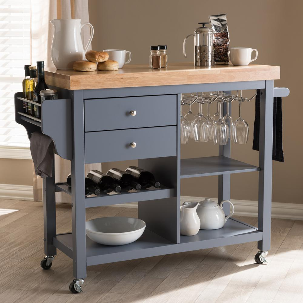 Large Kitchen Islands With Seating For 6: Home Styles Americana Grey Kitchen Island With Seating