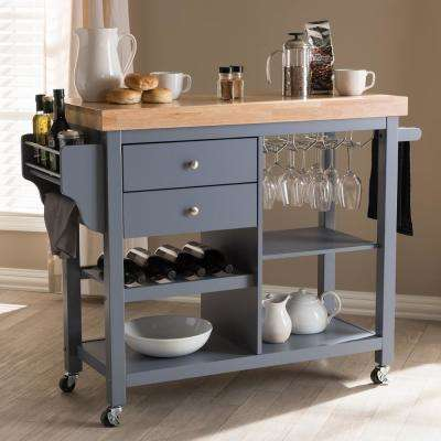 Sunderland Gray Kitchen Cart with Glass Holders