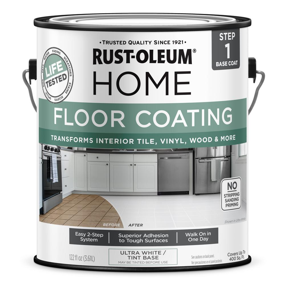 Rust Oleum Home 1 Gal Ultra White Interior Floor Base Coating 357671 The Home Depot