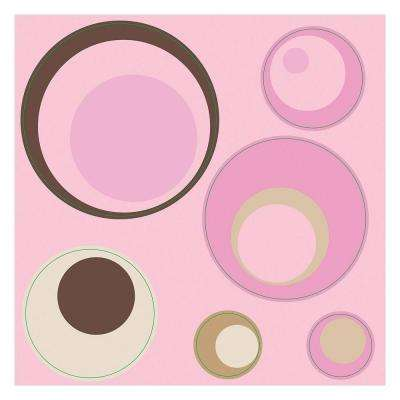 12 in. x 12 in. Spheres Pink 4-Piece Wall Decal