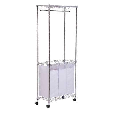 74 in. H Chrome Rolling Urban Laundry Center