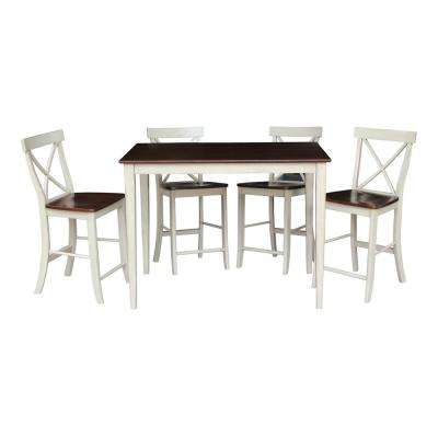 5-Piece Almond and Espresso Bar Table Set