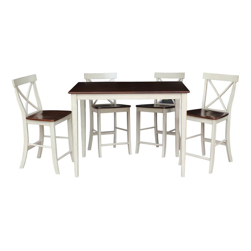5-Piece Almond and Espresso Bar Table Set