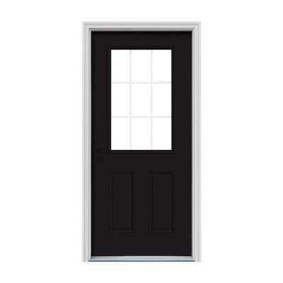 32 in. x 80 in. 9 Lite Black Painted Steel Prehung Right-Hand Inswing Front Door w/Brickmould