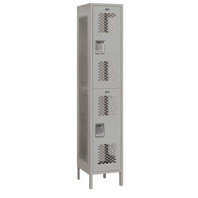 82000 Series 15 in. W x 78 in. H x 18 in. D 2-Tier Extra Wide Vented Metal Locker Unassembled in Gray