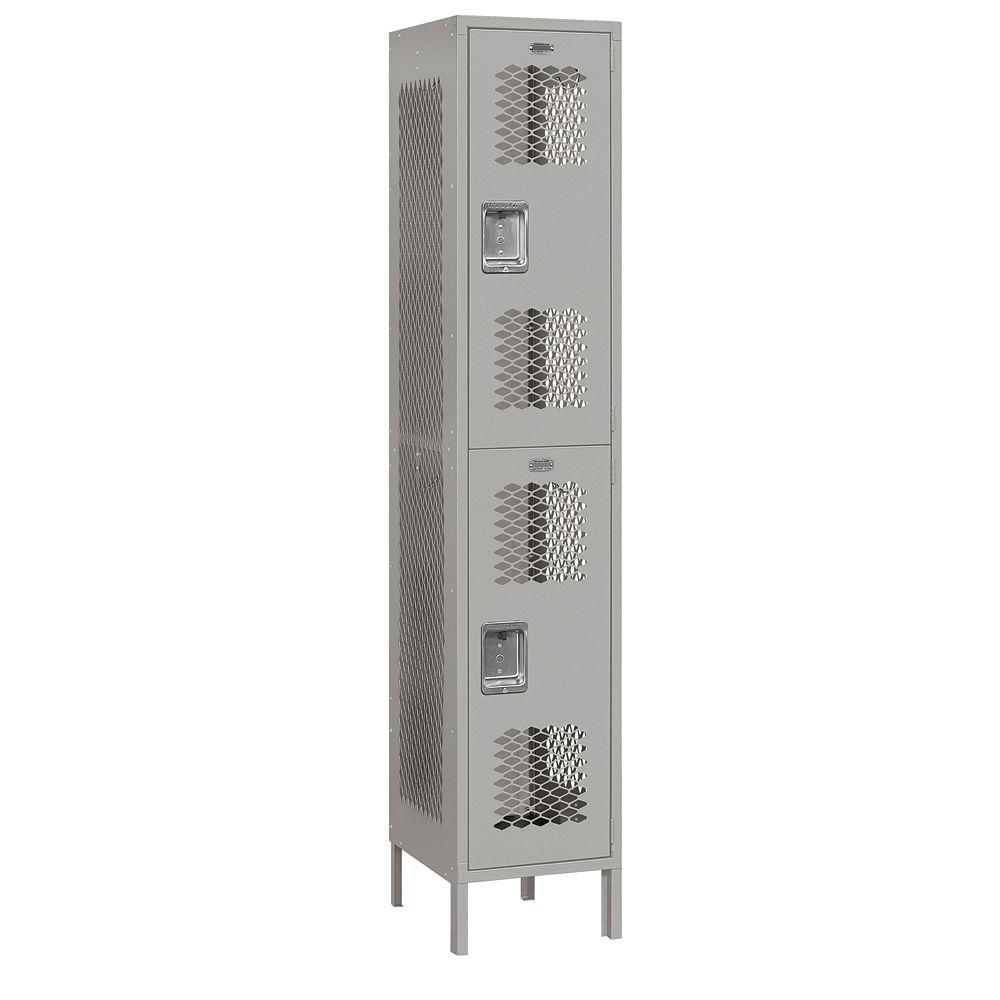Salsbury Industries 82000 Series 15 in. W x 78 in. H x 18 in. D 2-Tier Extra Wide Vented Metal Locker Unassembled in Gray