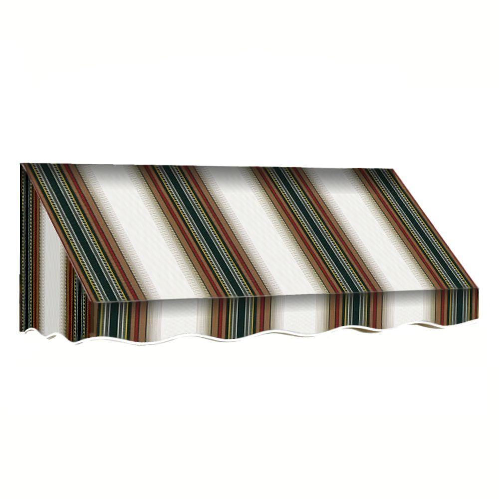 AWNTECH 7 ft. San Francisco Window/Entry Awning Awning (18 in. H x 36 in. D) in Burgundy / Forest / Tan Stripe