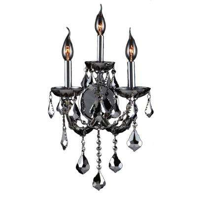 Lyre Collection 3-Light Chrome Crystal and Chrome Sconce