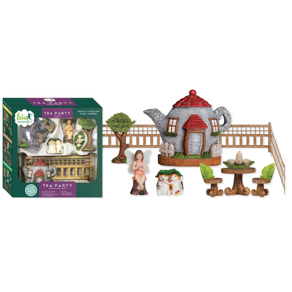 Arcadia Garden Products Tea Party Polyresin Fairy Garden Kit (11-Piece) This Fairy Garden Kit will inspire your creativity. You can easily design a miniature garden scene and step into a world of fantasy. Fairy Garden Kits make it easy to design unique and delightful gardens. Imagine the possibilities.