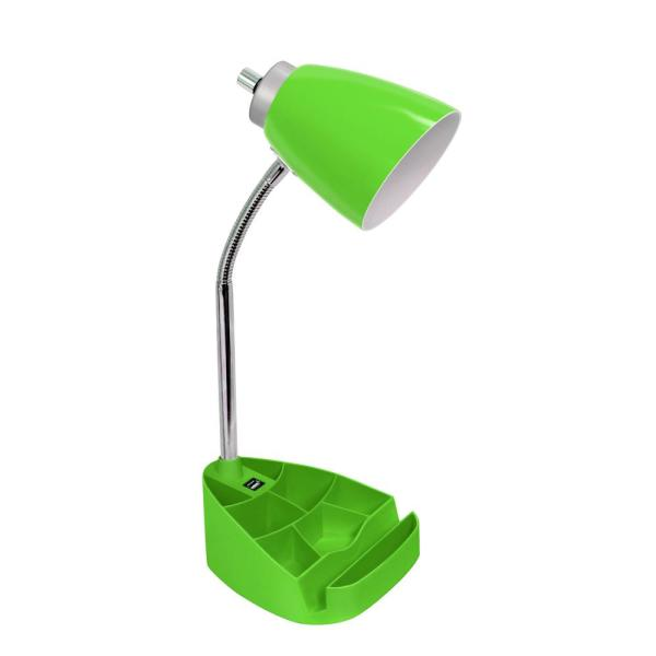 18.5 in. Gooseneck Organizer Desk Lamp with iPad Tablet Stand Book Holder and USB port, Green
