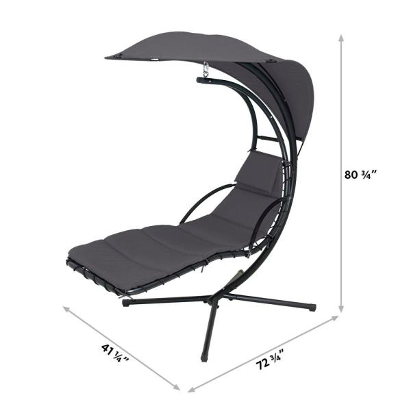 Maypex 73 In Steel Outdoor Floating Hanging Curved Chaise Lounge Chair With Grey Cushion And Canopy Umbrella 300360 Gr The Home Depot