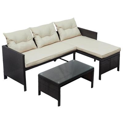 Frey Brown 3-Piece Rattan Outdoor Furniture Sofa Set with Beige Cushions