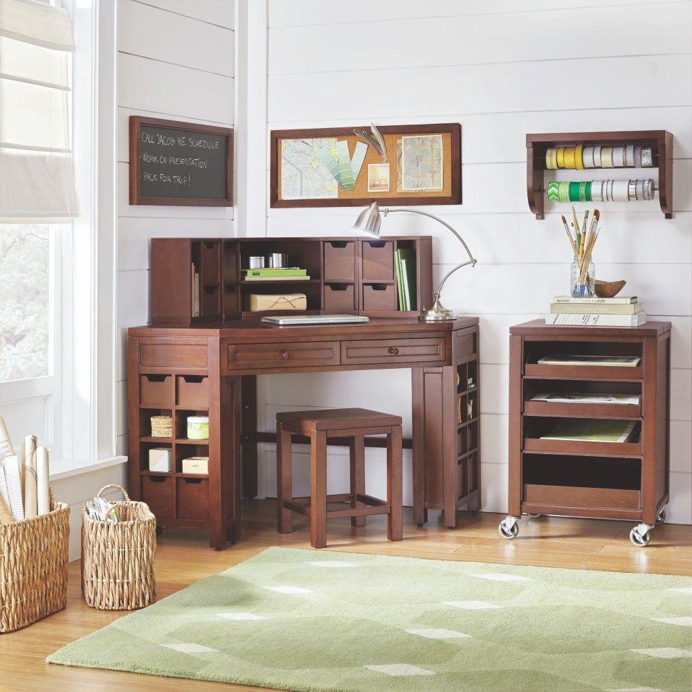 Martha Stewart Living Craft Space Sequoia Brown Corner Craft Table with Storage