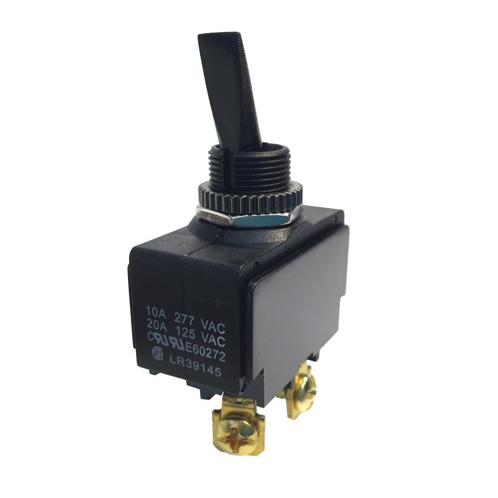 Plastic Toggle Switch SPST O/F 20 Amp 125-Volt (Case of 5)