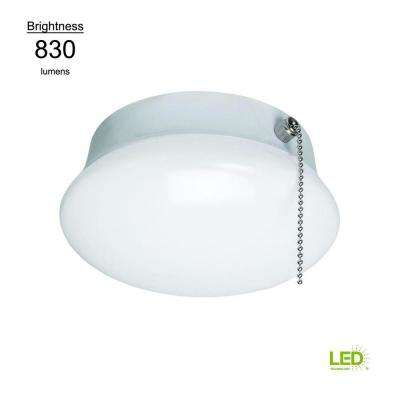 Lightbulb Replacement 7 in. Round White 60 Watt Equivalent Integrated LED Flushmount with Pull Chain (Bright White)