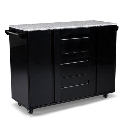 Linear Black Kitchen Cart with Salt and Pepper Granite Top