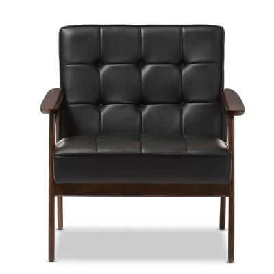 Fine Baxton Studio Stratham Black Faux Leather Upholstered Accent Ibusinesslaw Wood Chair Design Ideas Ibusinesslaworg