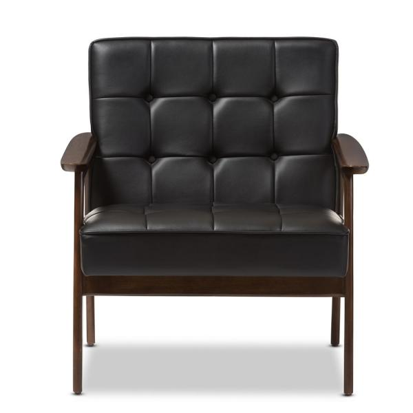 Fabulous Baxton Studio Stratham Black Faux Leather Upholstered Accent Ibusinesslaw Wood Chair Design Ideas Ibusinesslaworg