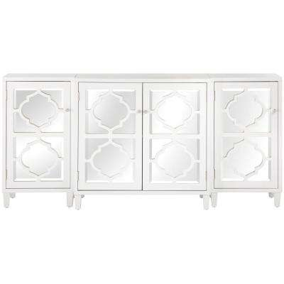 Reflections White Mirrored Console Table Set