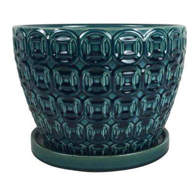 Mayer 12 in. dia Seafoam Ceramic Pot