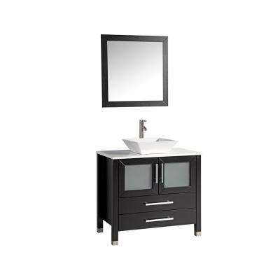 36 in. W x 20.5 in. D x 36 in. H Vanity in Espresso with Micro Stone Vanity Top in White with White Basin and Mirror