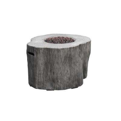 Warren 42 in. x 39 in. x 26 in. Irregular Round Concrete Propane Fire Pit Table in Classic Gray