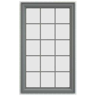 35.5 in. x 59.5 in. V-4500 Series Left-Hand Casement Vinyl Window with Grids - Gray