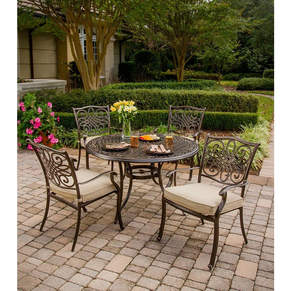 Hanover traditions 5 piece patio outdoor dining set with 4 for Patio dining sets with bench seating