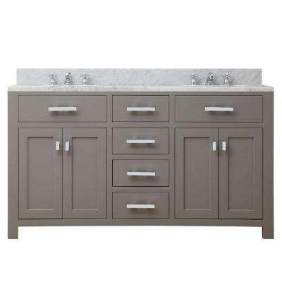 60 in. W x 21 in. D x 34 in. H Vanity in Cashmere Grey with Marble Vanity Top in Carrara White