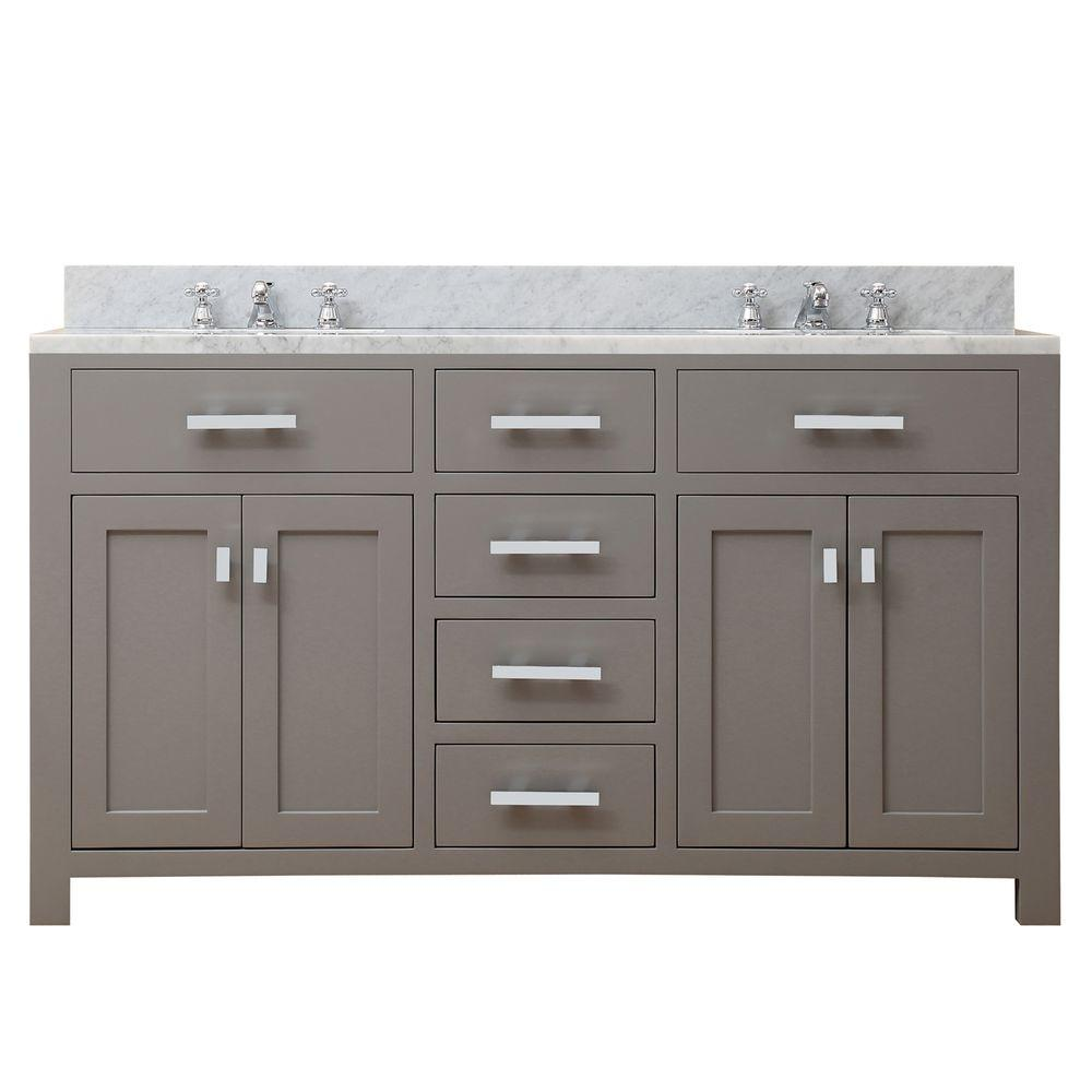 Water Creation 60 In. W X 21 In. D X 34 In. H Vanity In Cashmere Grey With  Marble Vanity Top In Carrara White Madison 60G   The Home Depot